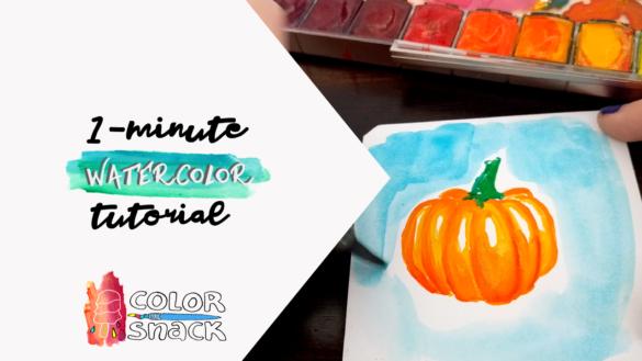 watercolor pumpkin sketch tutorial