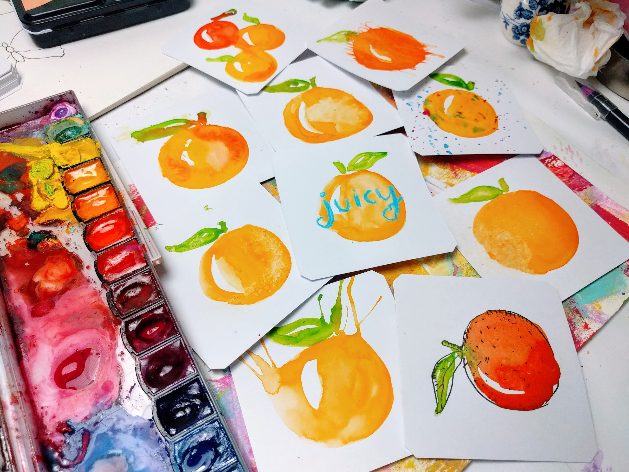 Watercolor Techniques For Beginners: 9 Ways to Paint an Orange ...