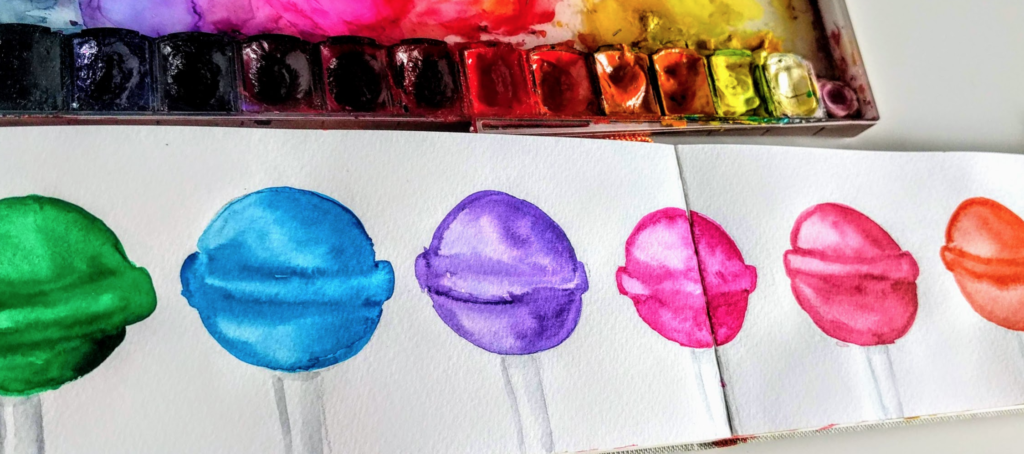 watercolor rainbow lollipops landscape sketchbook skillshare class