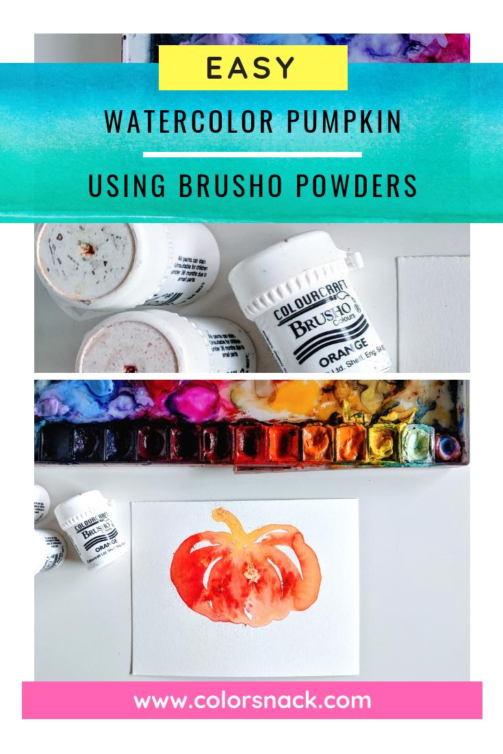 Easy Watercolor Pumpkin Sketch Tutorial - Using Brusho