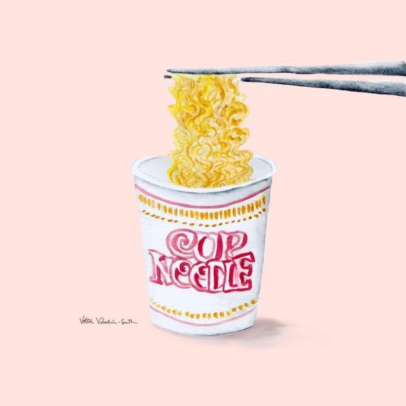 cup noodle watercolor illustration