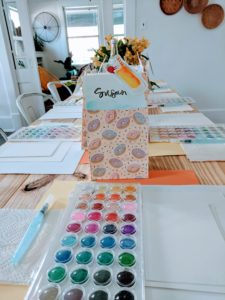 diy watercolor place cards for party