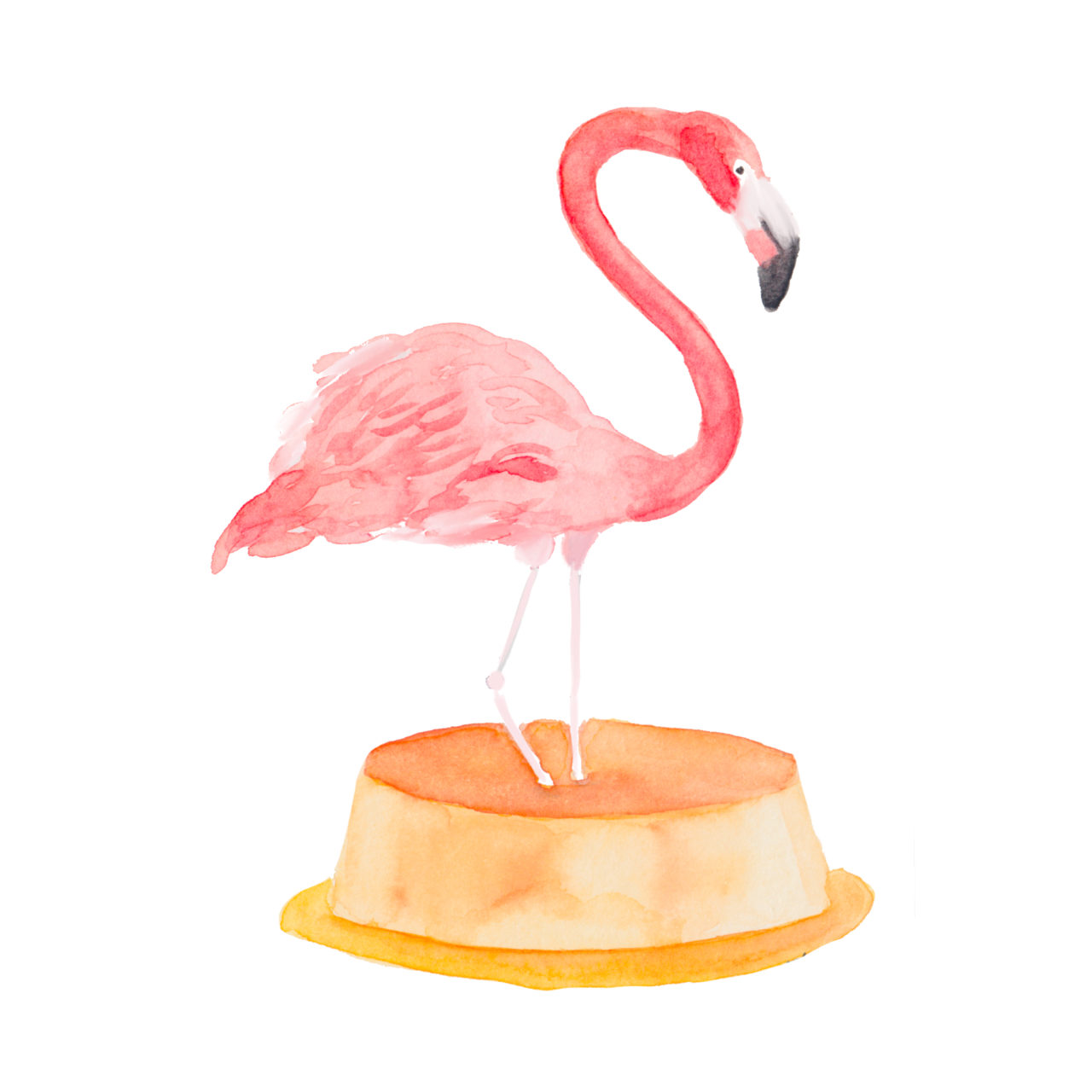 watercolor flamingo on a flan