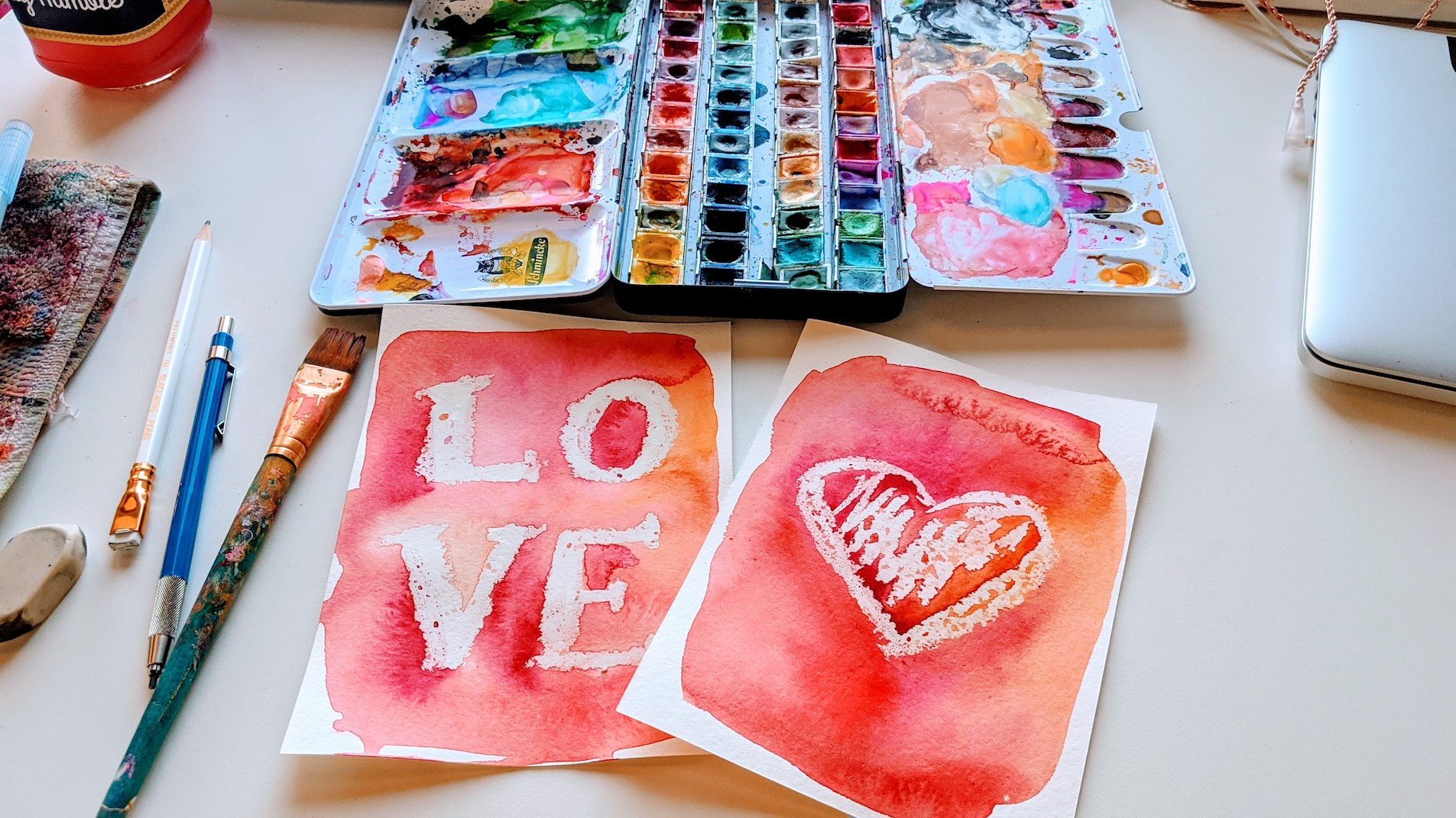 easy watercolor valentine's day cards ideas