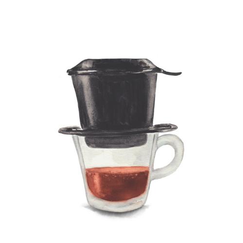 watercolor food illustration - Vietnamese coffee