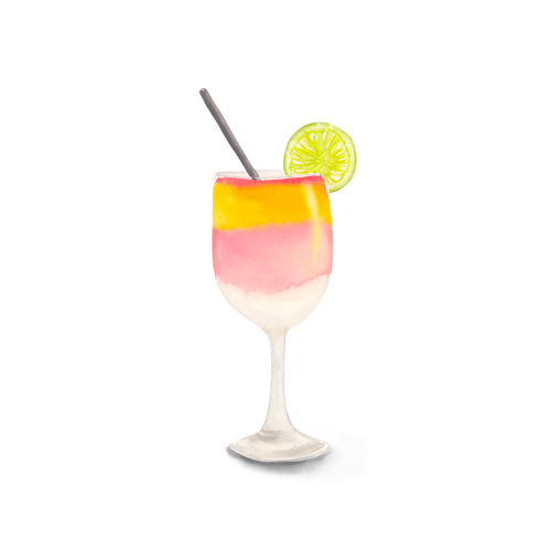 watercolor food illustration - cocktail