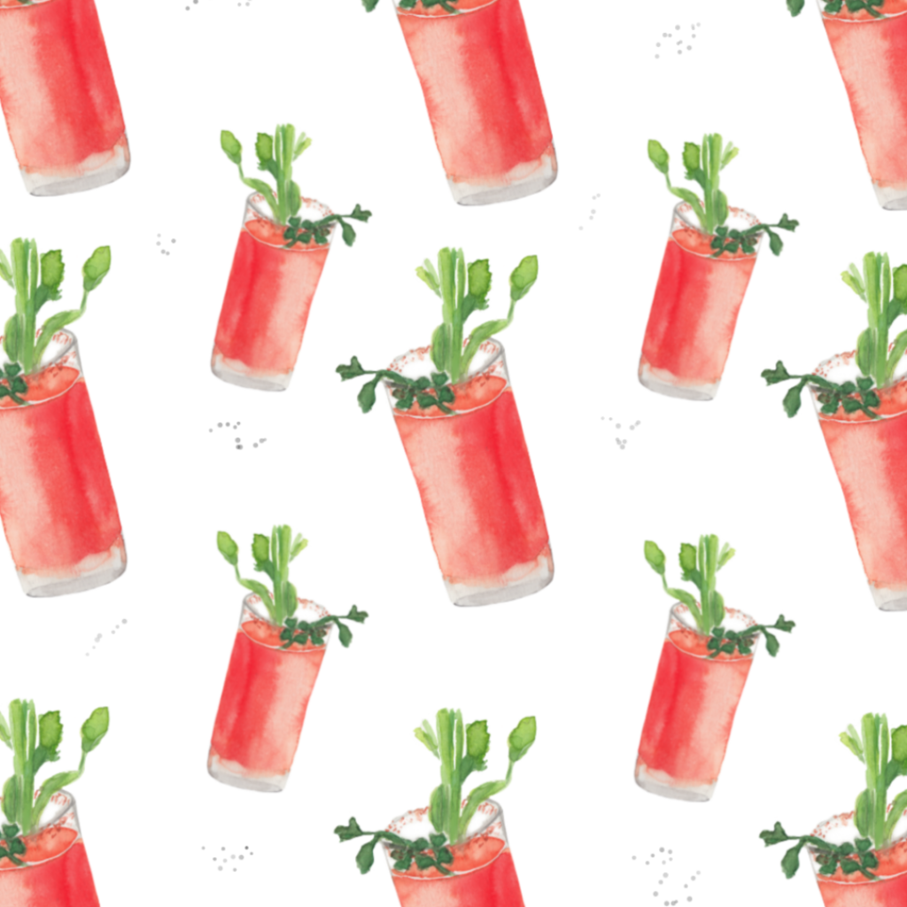 Watercolor pattern of bloody mary cocktail