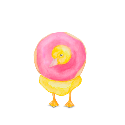 Watercolor donut illustration on a baby duck