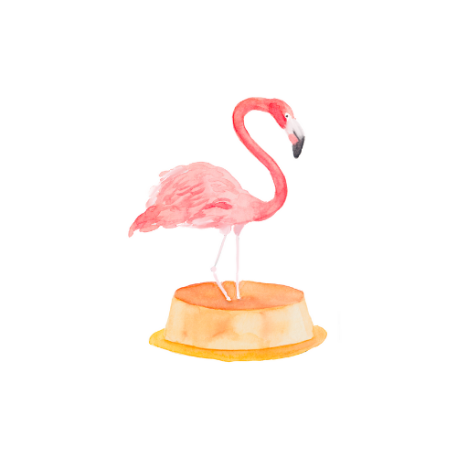Watercolor flamingo illustration on a flan