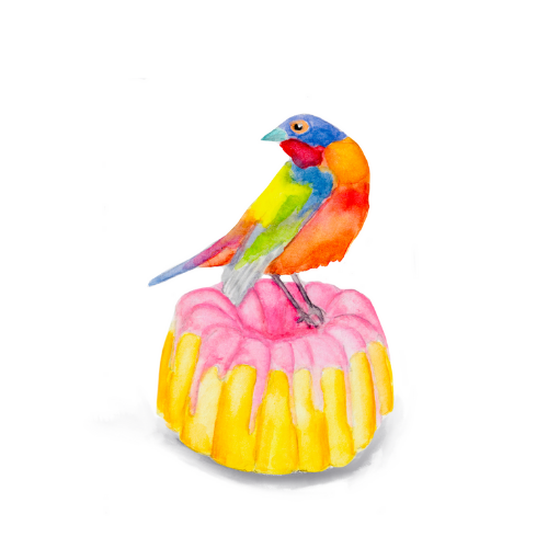 Watercolor bird illustration of a Painted Buntig on a bundt cake.