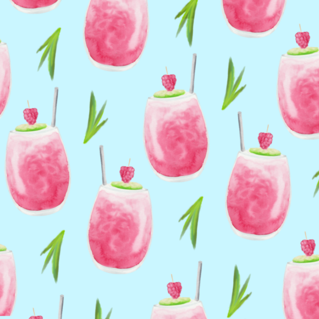 Watercolor cocktail pattern