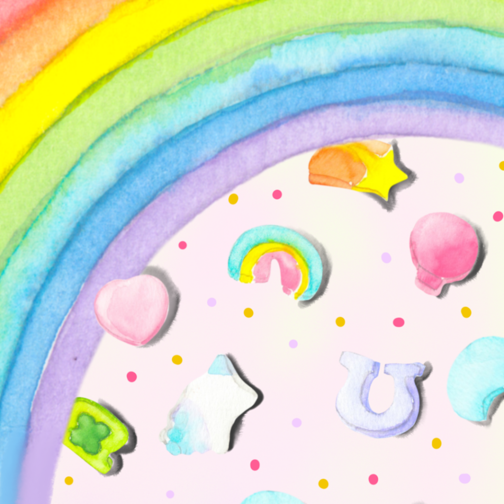 Watercolor pattern of lucky charms