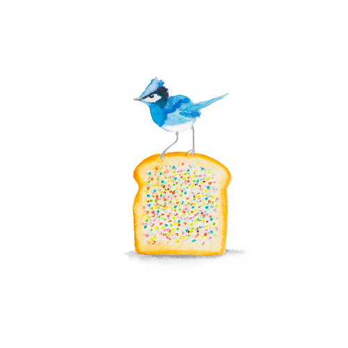 Watercolor bird illustration of a blue bird on a fairy toast