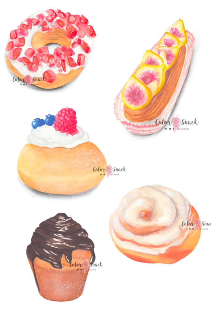 Watercolor donuts illustrations with a cinnamon roll and cruffin