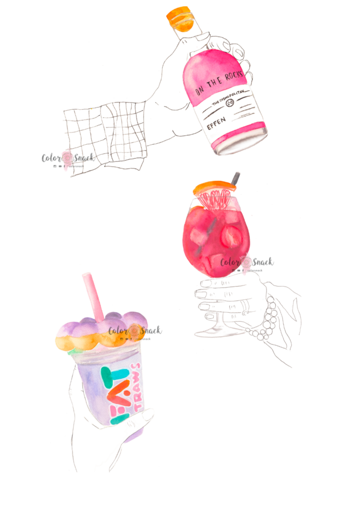 Watercolor cocktails and drinks illustrations