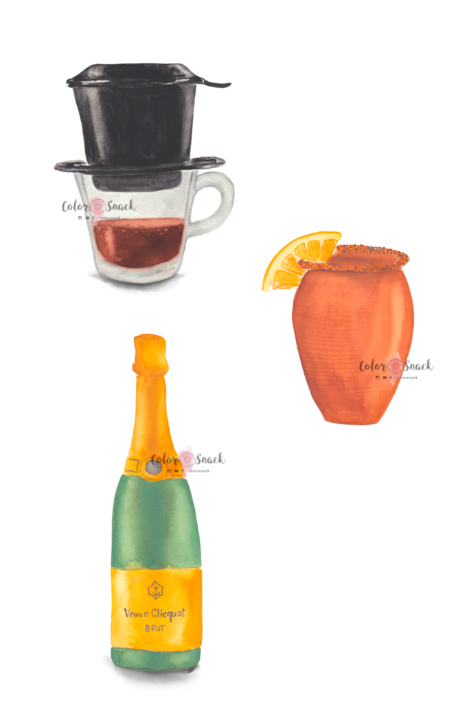 Watercolor coffee, cantarito and champagne bottle illustration