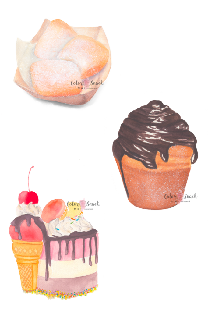 Watercolor food illustration of beignets, cruffin and a cake.