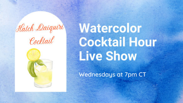watercolor happy hour hatch chile pepper cocktail