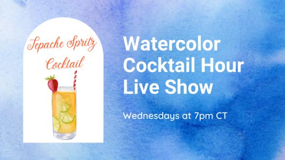 tepache spritz cocktail watercolor painting